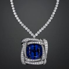 One of a kind Van Cleef & Arpels Tanzanite and Diamond Necklace. Designed in Platinum with Natural Cushion Shape Tanzanite. Also a brooch! Diamond Tennis Necklace, Diamond Pendant Necklace, Diamond Jewelry, Diamond Necklaces, Diamond Choker, Choker Necklaces, Modern Jewelry, Fine Jewelry, Glass Jewelry