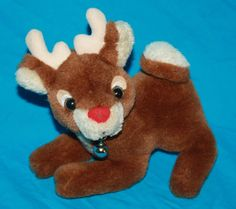Just Adorable Rudolph The Red Nosed Reindeer Plush Flocked Nose Jingle Bell Collar Christmas Classic and could be vintage.  No tags and no brand so not sure of age.  #RudolphTheRedNosedReindeer #ChristmasPlush