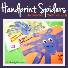 Fun Halloween crafts for kids. Handprint Spiders.