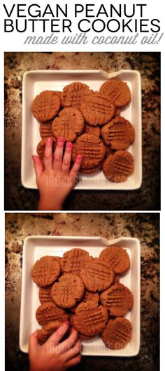 Vegan Peanut Butter Cookies made with Coconut Oil. Gives it a hint of coconut flavor and makes these cookies irresistible. Subbing Almond Butter for the Peanut Butter. Vegan Treats, Vegan Foods, Vegan Dishes, Vegan Desserts, Delicious Desserts, Vegan Recipes, Dessert Recipes, Yummy Food, Yummy Yummy