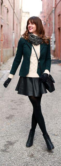 Stylish in fall winter with boyfriend blazer and mini skirt