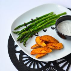 Jerk Sweet Potatoes and Grilled Green Asparagus