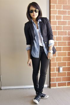 simple and relaxed,blazer with denim top
