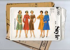 VINTAGE STYLE Pattern 1760 Misses' Dress in 5 variations - 1976 -Size 12 (Bust 87 cm) UNCUT - pinned by pin4etsy.com