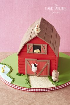 The Cake Parlour designs and creates beautiful celebration cakes for birthdays, christenings and other special occasions. Farm Animal Party, Farm Animal Birthday, Farm Party, Farm Birthday Cakes, Backyard Birthday Parties, Barnyard Cake, Barn Cake, Chicken Cake, Christmas Gingerbread House
