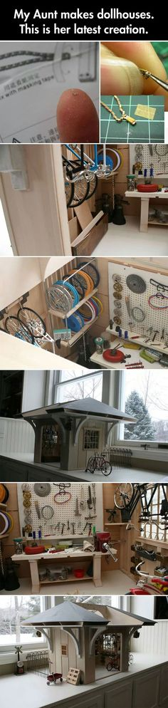Amazingly detailed miniature bike shop…