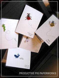 Set of 5 Handmade Valentine's // Anniversary // by ProductivePig, $25.00