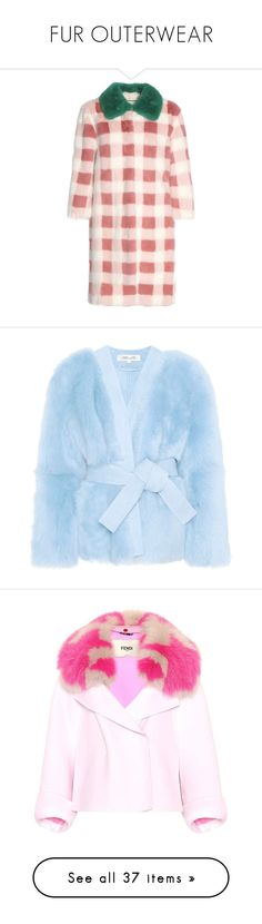"""FUR OUTERWEAR"" by jadiior ❤ liked on Polyvore featuring outerwear, coats, gucci, jackets, pink, checked coat, mink coat, pink mink coat, mink fur coat and blue"