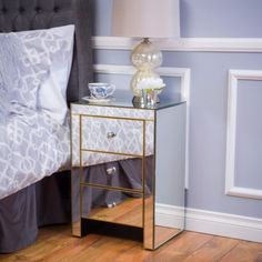 Mirrored-3-Drawer-Side-Table
