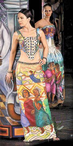 México en un vestido - Grupo Milenio Traditional Mexican Dress, Traditional Fashion, Traditional Dresses, Mexico Fashion, Ethnic Fashion, Womens Fashion, Dress Painting, Mexican Dresses, Fantasy Dress