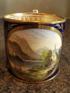 DERBY TOPOGRAPHICAL CUP  CIRCA 1820 HAND PAINTED