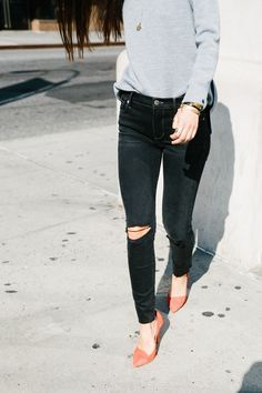 neutrals with bright shoes.