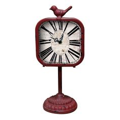 "15"" Metal Tabletop Bird Clock in Red"