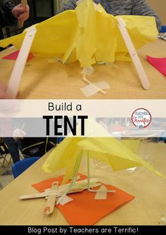 "STEM Challenge: Read ""Where the Wild Things Are"" and build a tent for Max. Check this blog post for more photos and materials lists!"