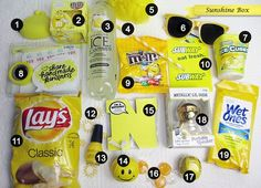 Love this idea for sending a box of sunshine! Handmade by Heather Ruwe Love this idea for sending a box of sunshine! Handmade by Heather Ruwe Source by Cute Birthday Gift, Birthday Gift Baskets, Birthday Gifts For Best Friend, Birthday Box, Best Friend Gifts, Yellow Birthday, Birthday Presents, Diy Bff Gifts, Cute Gifts For Friends