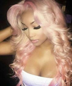Women Pink Wigs Lace Front Hair Blonde With Pink Underneath Light Blonde Pink Hair Pink Hair Bangs – cressral Weave Hairstyles, Pretty Hairstyles, Black Hairstyles, Hairstyles Videos, Hair Colorful, Curly Hair Styles, Natural Hair Styles, Looks Halloween, Blonde With Pink