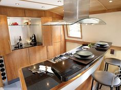 ~*~I WANT MY TINY KITCHEN LIKE THIS, WHERE YOU CAN COOK AND FELLOWSHIP AT THE SAME TIME~*~ boat galley kitchen ideas   Widebeam, wide beam, widebeam builder, canal boatbuilder   Aqualine