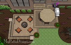 Square Patio, Seat Wall, Fire Pit - Patio Design & Ideas
