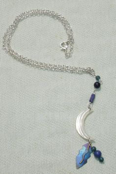 Shell Moon and Blue Gemstone Pendant on Silver Chain - $18.00 - Handmade Jewelry, Crafts and Unique Gifts by Harmonee's Magickal Creations