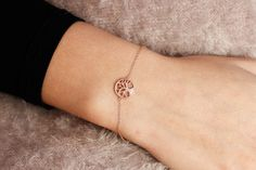 Silver Tree of Life Bracelet, Family Tree Bracelet, Rose Gold Chain Bracelet, Sterling Silver Simple Bracelet, Nature Jewelry, SB0053