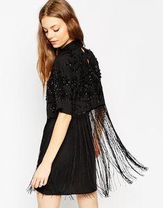 ASOS Embellished Fringe Crop Top Mini Dress
