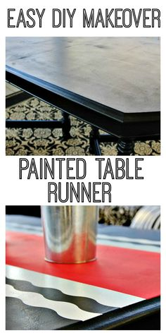 An easy DIY makeover to freshen a wooden dining table - a painted table 'runner'. Wooden Dining Tables, A Table, Painted Tables, Home Decor Kitchen, Diy Home Decor, Furniture Makeover, Diy Furniture, Thistlewood Farms, Decorating Your Home
