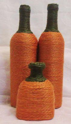 Pumpkin Yarn Wrapped Wine Bottles by OrangeCreek on Etsy