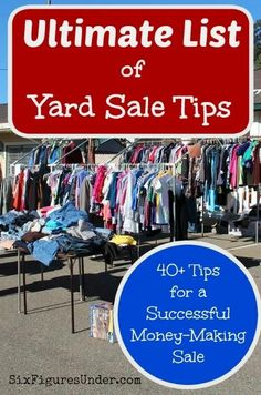 Copy Paste Earn Money - Yard sales and garage sales area a great way to earn some extra cash while decluttering. Here are 40 yard sale tips for a successful money-making sale! You're copy pasting anyway.Get paid for it. Garage Sale Pricing, Garage Sale Tips, Garage Sale Organization, Organization Ideas, Organizing Tips, Rummage Sale, Sales Tips, Tips & Tricks, Thing 1