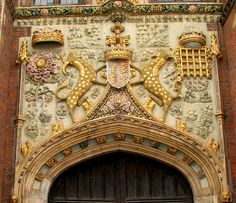 Arms of Lady Margaret Beaufort, mother of Henry VII and grandmotherof Henry VIII, at St John's College in Cambridge