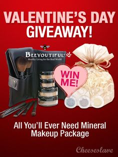 Valentine's Giveaway: Beeyoutiful Mineral Makeup Set -- $128 Value - CHEESESLAVE #giveaway #valentine / http://www.cheeseslave.com/valentines-giveaway-beeyoutiful-mineral-makeup-set-128-value/
