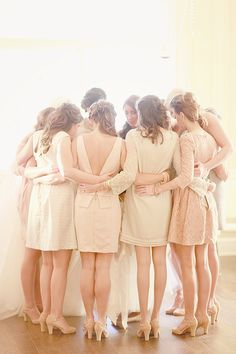 pre-wedding prayer...so sweet!  and love those mix match bridesmaids dresses - and shoes!
