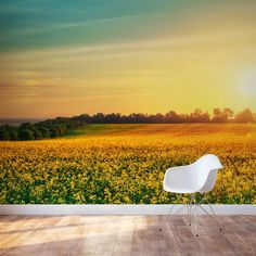 Could you imaging waking up to this in your #bedroom!  Flower Field At Sunset Wall Mural