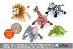 P.L.A.Y.'s Safari Toy Collection is fiercely cute with five lovably round wildlife creatures in the shape of a Zebra, Lion, Giraffe, Elephant and Crocodile. These cuddly companions are ideal for your furry king or queen of the jungle and will keep your dog active as they squeak, fall and tumble across the floor!    Each toy features a unique sounding supersized squeaker inside to capture your pup's attention, sliding hind limbs for extra tugging fun and P.L.A.Y.'s certified safe eco-friendly…