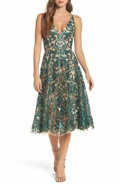adccde884f Dress the Population Blair Embellished Fit   Flare Dress Green Wedding  Dresses