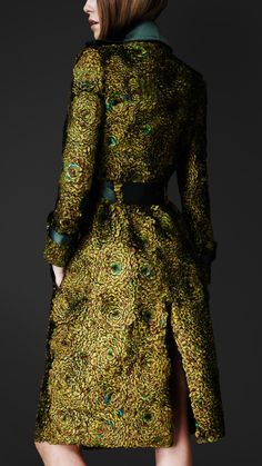 Peacock Feathered Trench Coat - Burberry