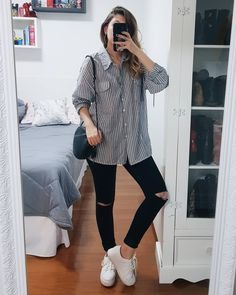 63 classy and casual grunge outfits fall for college 11 Casual Grunge Outfits, Trendy Fall Outfits, Basic Outfits, Mode Outfits, Stylish Outfits, Fashion Outfits, Look 80s, University Outfit, Mein Style