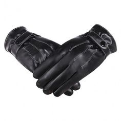 Fashion Unisex Gloves Winter Warm Synthetic Leather Driving Gloves With Fleece