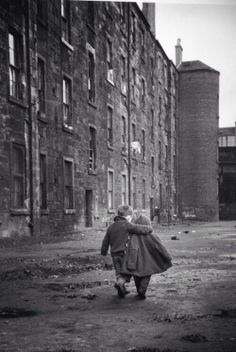A comforting hug, Glasgow, Scotland, 1968.