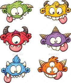 Vector clip art illustration with simple gradients. Each on a separate layer. Vector clip art illustration with simple gradients. Each on a separate layer. Cute Monsters Drawings, Cartoon Monsters, Cartoon Faces, Cartoon Drawings, Cute Drawings, Cartoon Images For Drawing, Cartoon Head, Drawing Faces, Doodle Monster