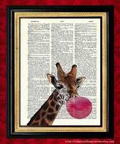 bubble gum blowing giraffe
