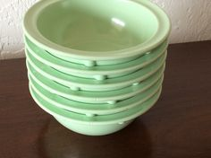 Vintage Set of Six Green 1950s melamine bowls by aniadesigns on Etsy