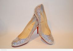 Christian Louboutin Simple 85mm strassed in clear Swarovski crystal. PERFECT bridal shoe, and comfortable because of the lower heel.