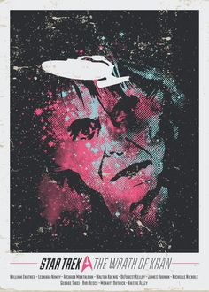 Star Trek Art Show by Le Dernier Bar Avant la Fin du Monde. Wrath of Khan; I love the way it looks like he's staring fixedly at the Enterprise.