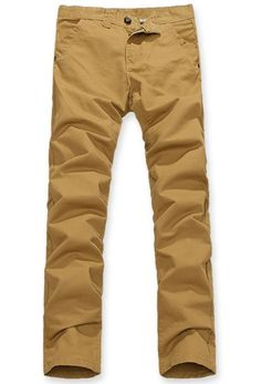 Wholesale Simple & Causal Pure Color Slim Long Pants---- Khaki top dresses