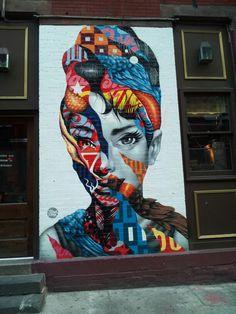 Audrey Hepburn on a Brooklyn wall.