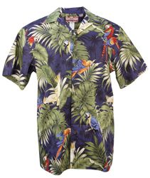 Tropical Parrot Palms - Mens Hawaiian Aloha Shirt - Navy