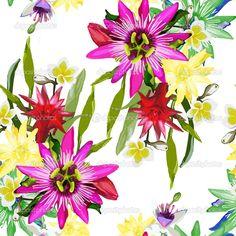 Шаблон тропические цветы - Векторная картинка: 45419105