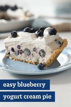 Easy Blueberry Yogurt Cream Pie – Fresh blueberries and flavored yogurt come…