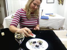 Sprinkling genuine edible gold leaf powder to chocolates and Perrier during the Gilding for the Holidays class in Seattle. Edible Gold Leaf, Photomontage, Chocolates, Seattle, Powder, Clay, Nyc, Holidays, Vacations