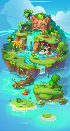 ArtStation - Tropical rain forest Little DriedFish - Backgrounds/Environment - Game Art Game Design, Web Design, Design Art, Art Isométrique, 3d Art, Fantasy Landscape, Landscape Art, Fantasy Art, Game Background